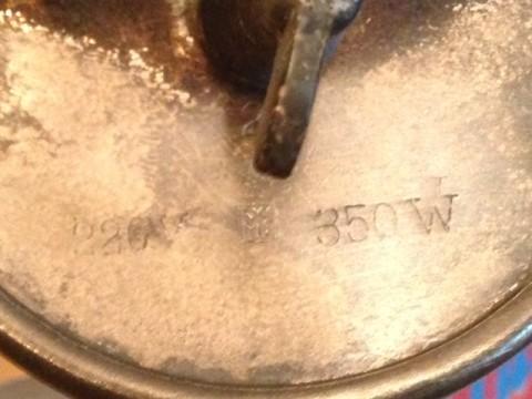 Wärmeplatte WMF um 1920 Herstellerstempel mit Leistungsangaben