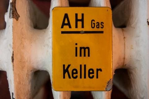 Emailleschild Gas Hauptanschluss