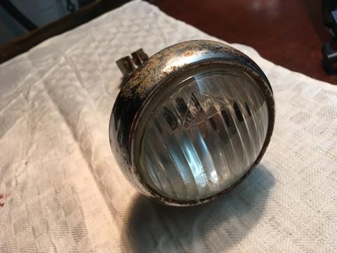 Lohmann Fahrrad Scheinwerfer mit Halter um 1930 Lampenglas