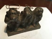 Büroklammer Halter magnetisch Gußskulptur drei Affen